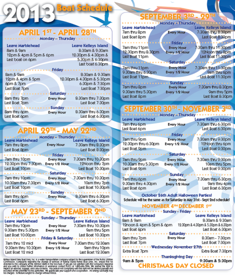 2013 Kelleys Island Ferry Boat Schedule